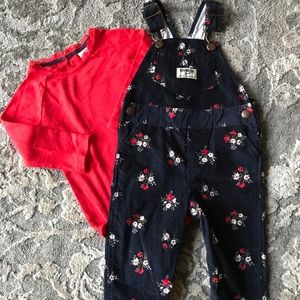 Oshkosh corduroy bibs and matching onesie